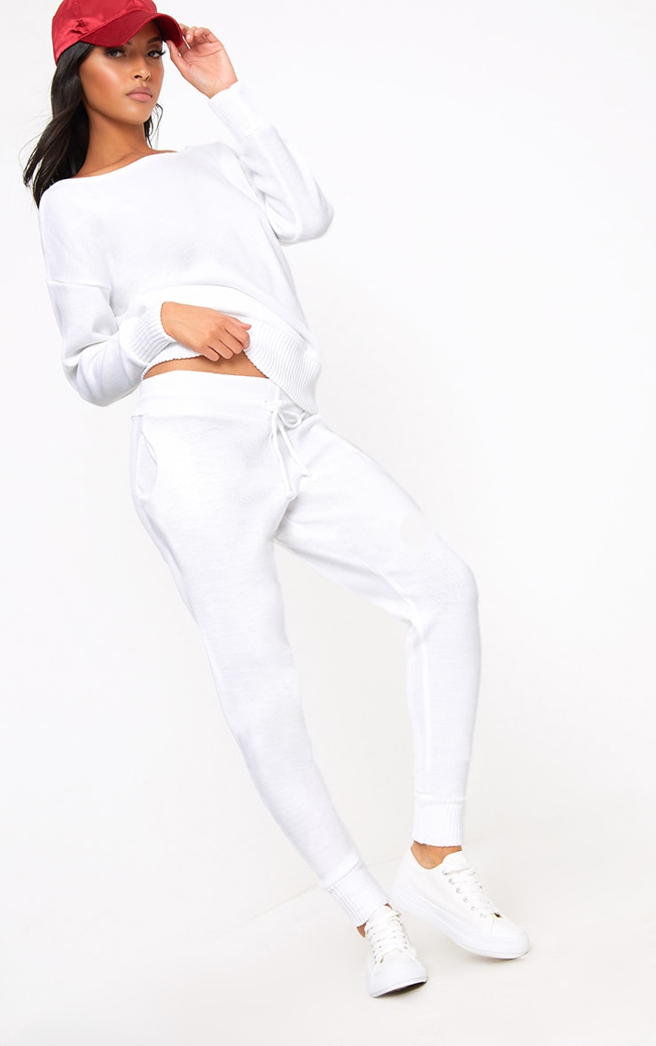 White Jogger Jumper Knitted Lounge Set