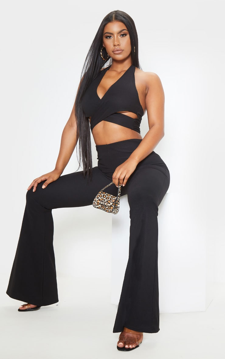 Black Textured Rib Cross Front Halterneck Crop Top 4