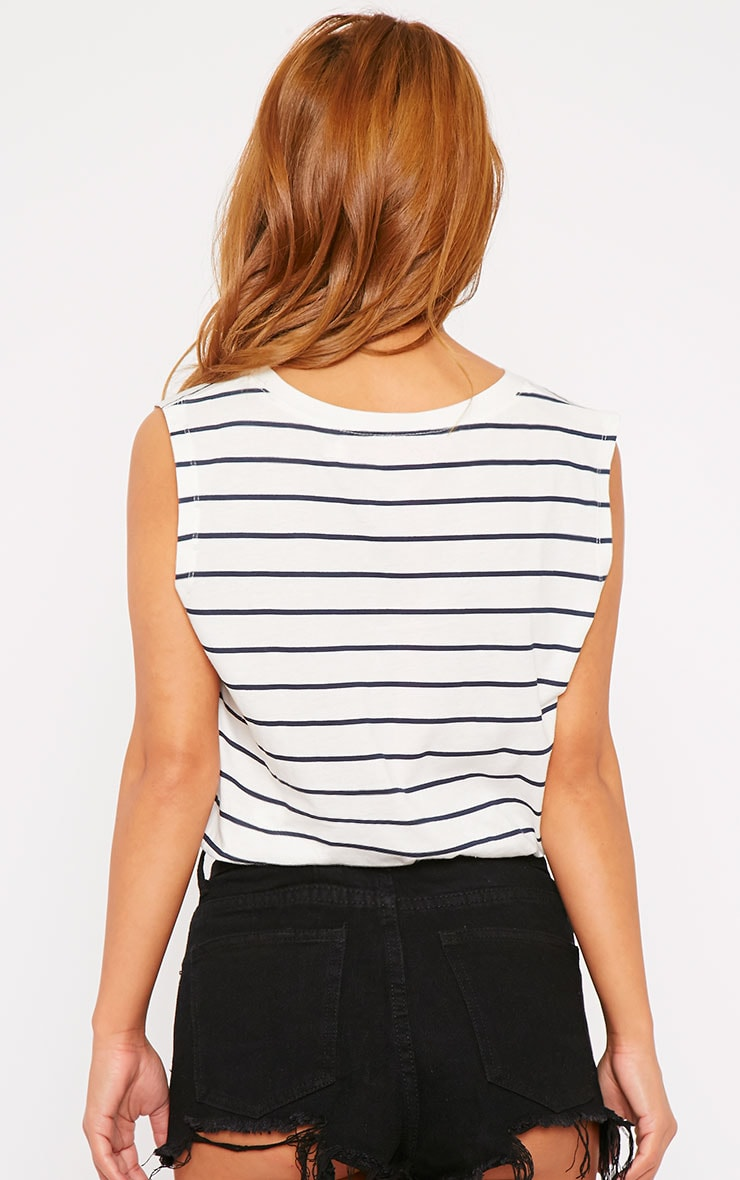 Lisbet White Stripe Vest Top 2