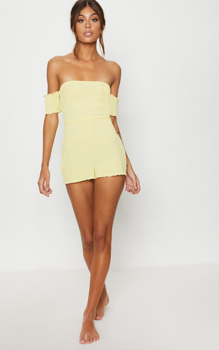 Lemon Ribbed Bardot PJ Romper 4
