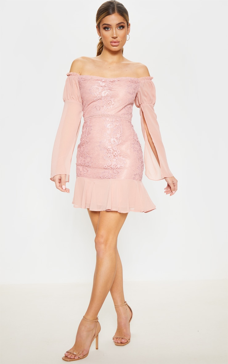 Rose Lace Puff Sleeve Frill Detail Bodycon Dress  4