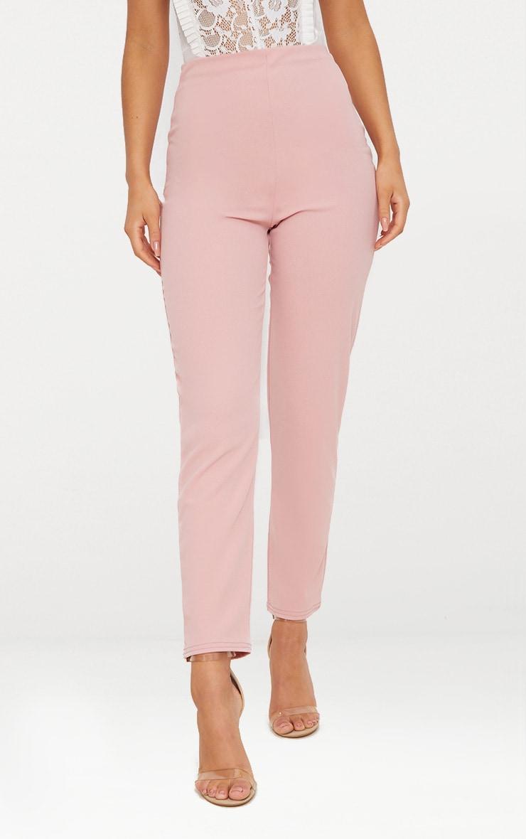 Pantalon slim rose pastel en crêpe  2