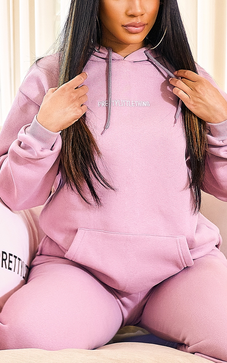 PRETTYLITTLETHING Lilac Embroidered Slogan Hoodie 4