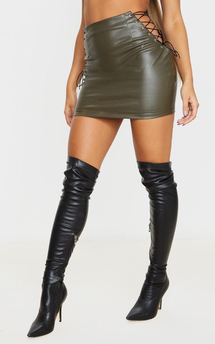 Khaki Faux Leather Lace Up Side Mini Skirt 2