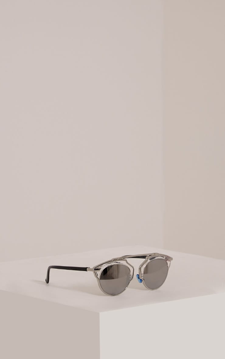 Kizzi Silver Cut Out Frame Mirrored Sunglasses 4