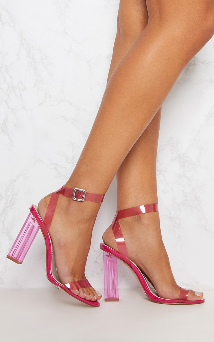073ebb1d5e2 Hot Pink Coloured Clear Strappy Heel
