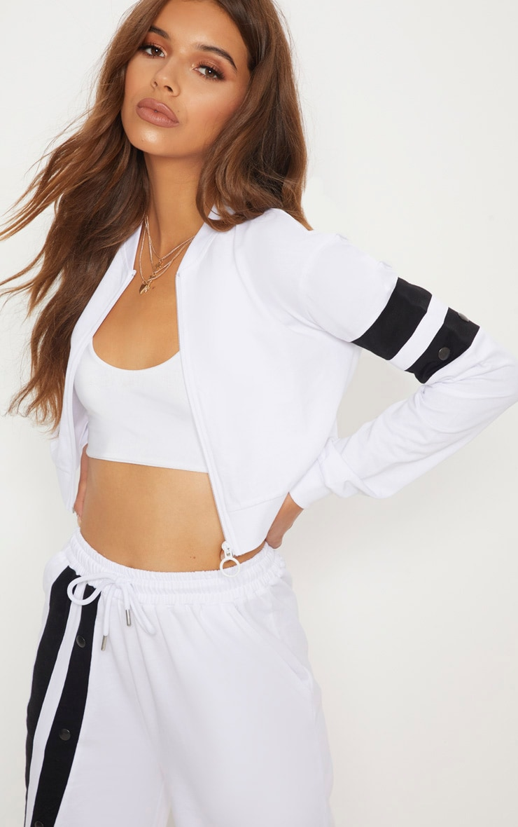 White Zip Up Crop Jacket by Prettylittlething