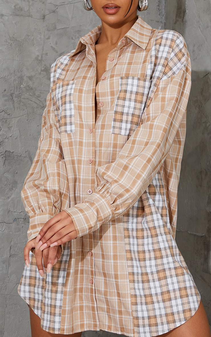 Stone Contrast Check Flannel Oversized Shirt Dress 4