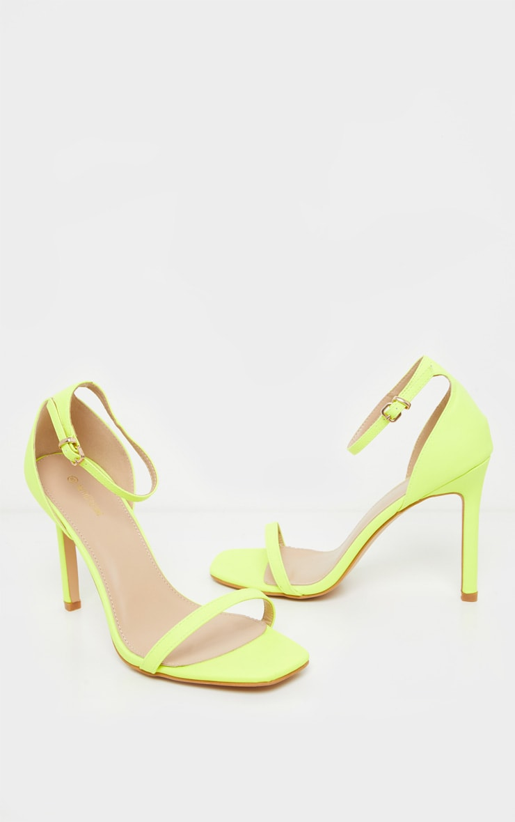 Neon Lime Thin Strap Square Toe Strappy Sandal 3