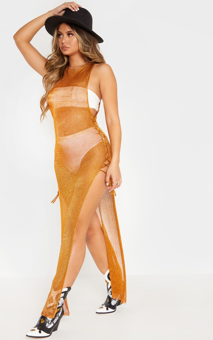 Orange Metallic Knitted Maxi Dress 4