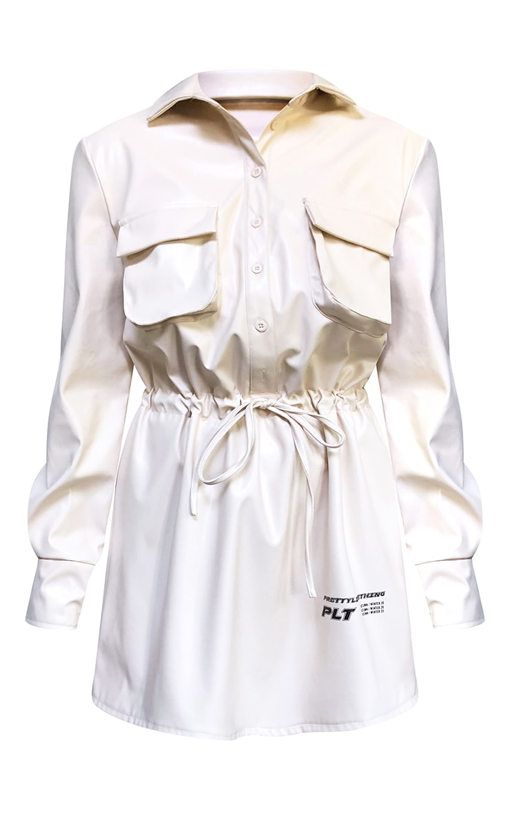 PRETTYLITTLETHING Cream Faux Leather Slogan Pocket Detail Shirt Dress 5