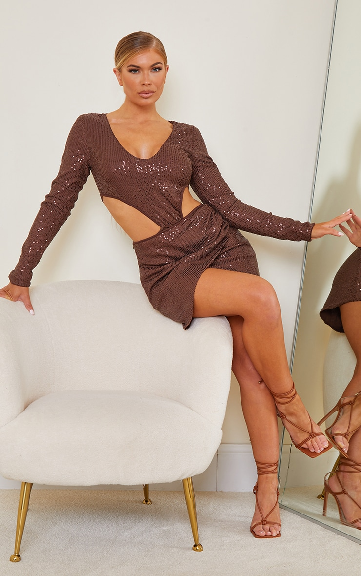 Chocolate Brown Sequin Cut Out Hip Detail Long Sleeve Bodysuit 3