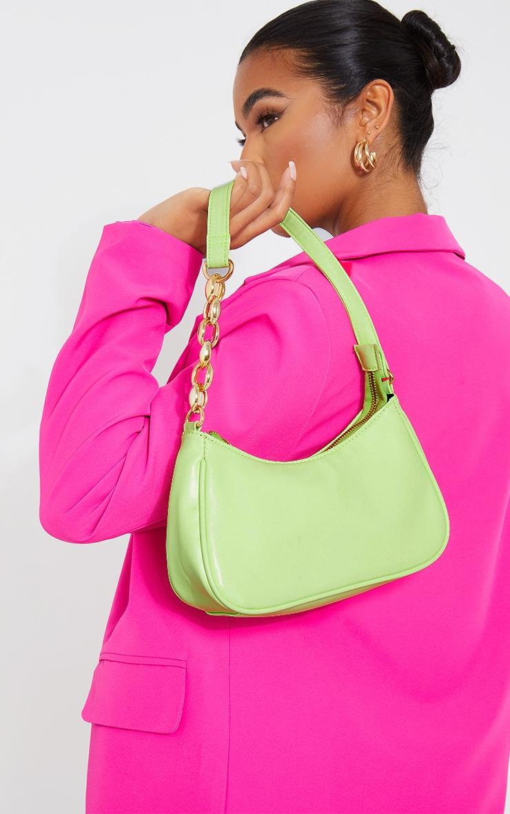 Lime Gold Chain Strap Shoulder Bag 1