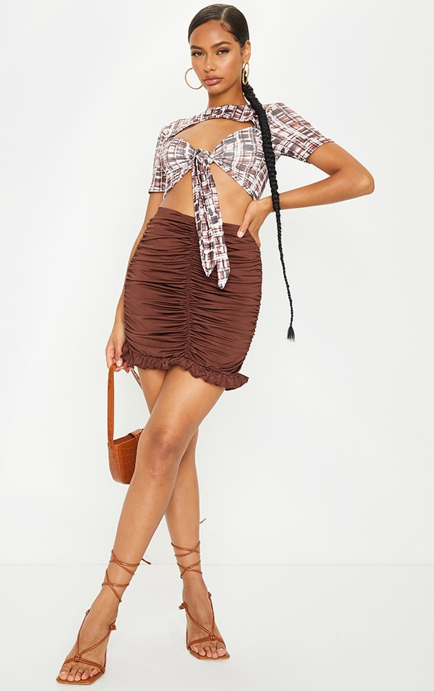 Chocolate Slinky Ruched Frill Hem Mini Skirt