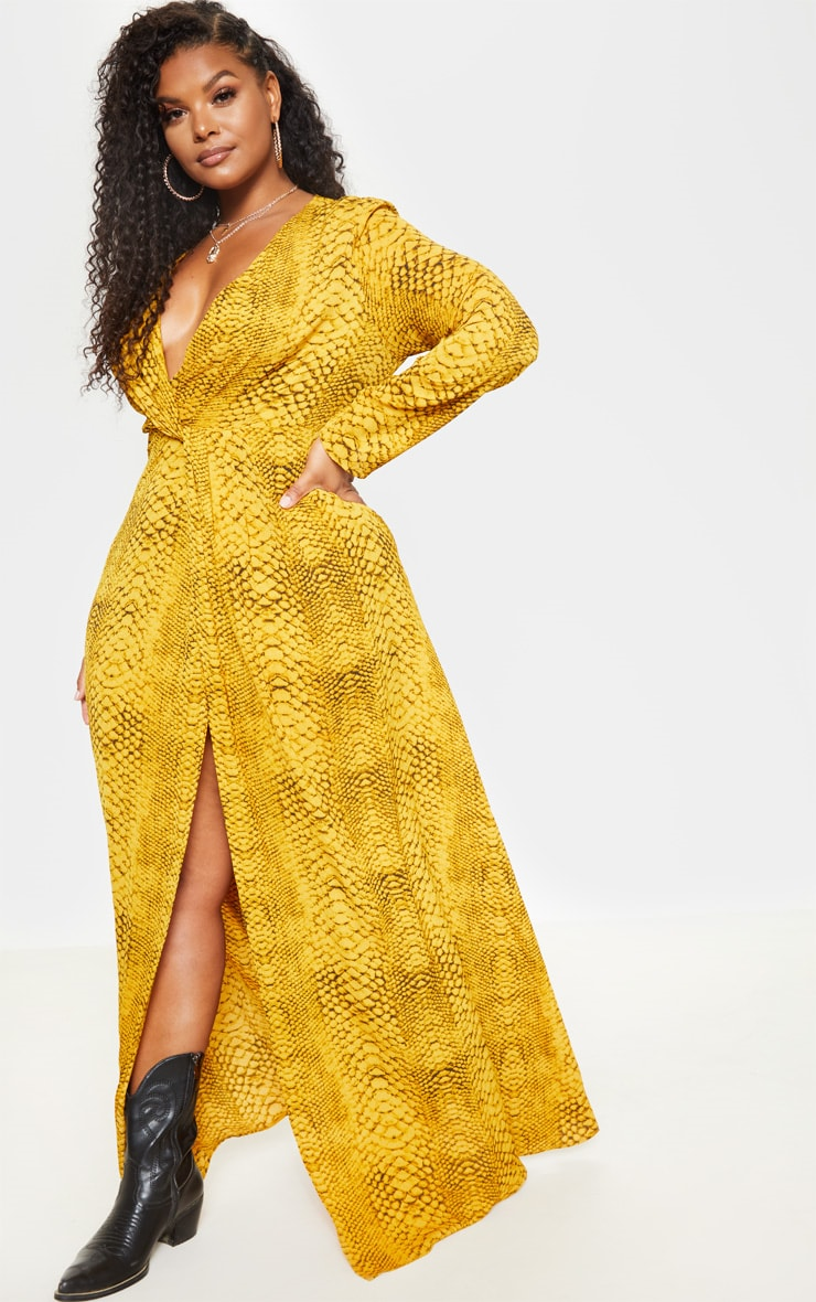 Plus Yellow Snake Twist Detail Maxi Dress 2