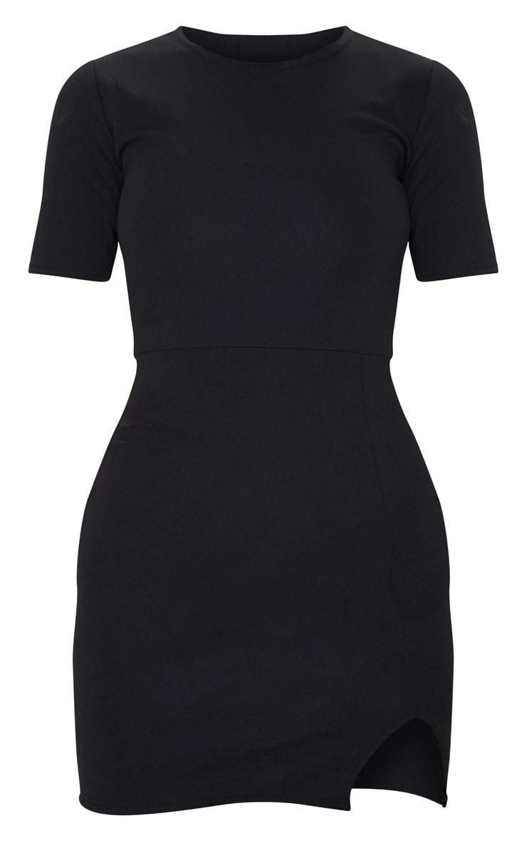 Freya Black Split Detail Capped Sleeve Bodycon Dress 5