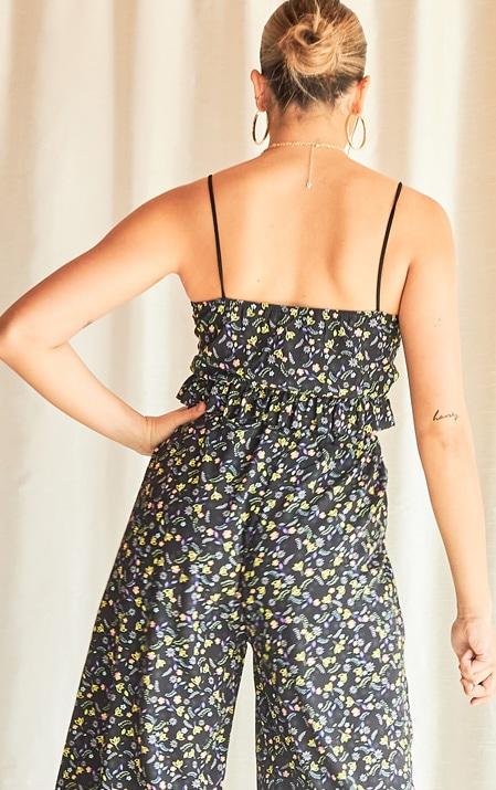 Black Floral Print Lace Up Crop Top 2