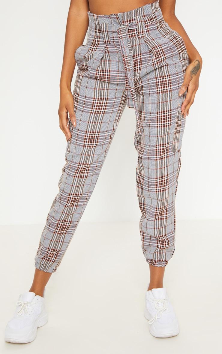Grey Tartan Print High Waisted Belted Track Pants 2