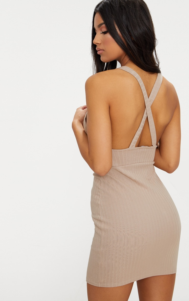 Stone Strappy Plunge Ribbed Bodycon Dress 2