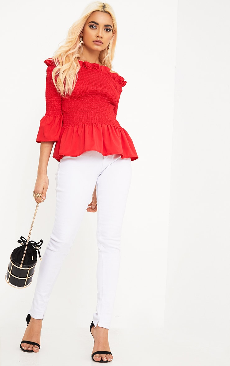 Pami Red Ruched Bardot Cotton Shirt 4