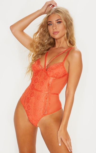 f050f5592 Burnt Orange Cross Front Mixed Lace Body