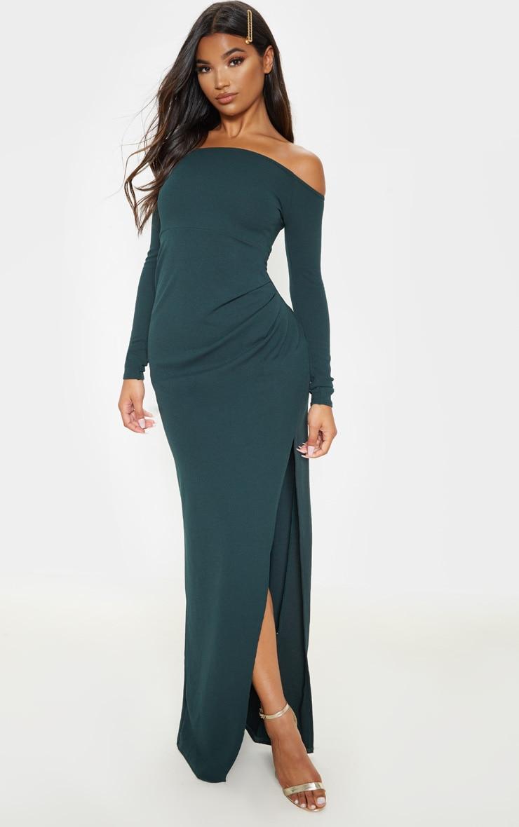 Emerald Green Wrap Over Long Sleeve Bardot Maxi Dress 1