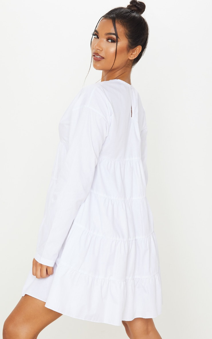 White Tiered Long Sleeve Crew Neck Smock Dress 2