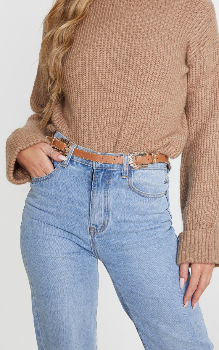 Tan Skinny Gold Double Western Belt 1