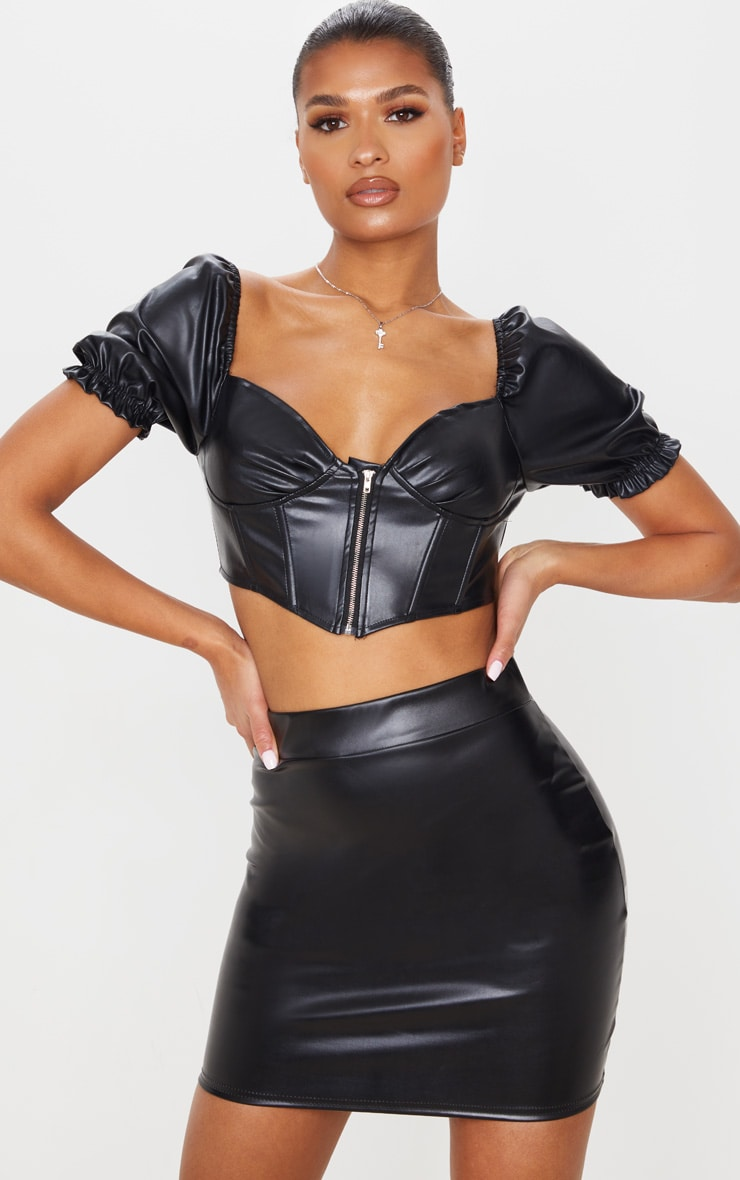 Black Basic Faux Leather Mini Skirt 4