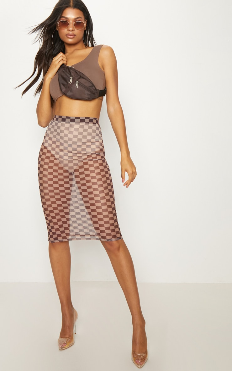 Brown Sheer Contrast Square Midi Skirt 1
