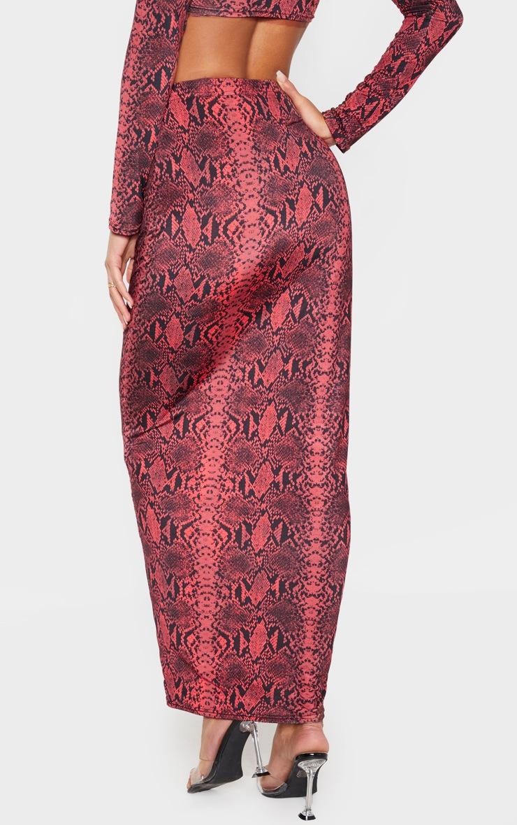 Red Snake Print Slinky Midaxi Skirt 4