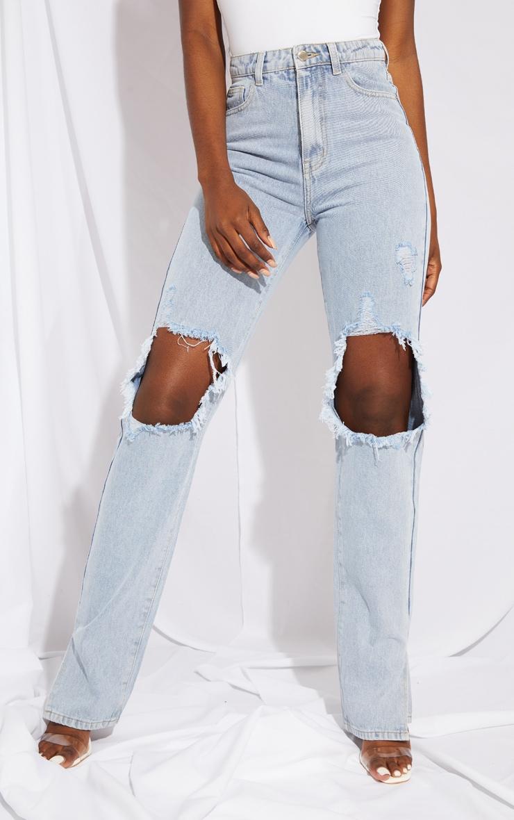 Tall Light Blue Distressed Knee Split Hem Denim Jean 2
