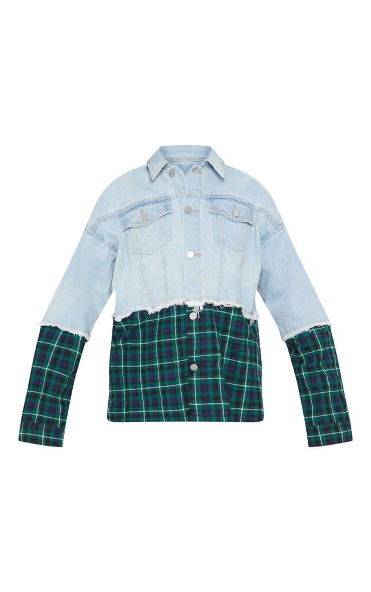 Light Wash Contrast Check Denim Jacket 3