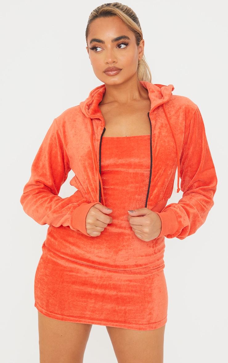 Petite Orange Velour Cropped Hoodie 1