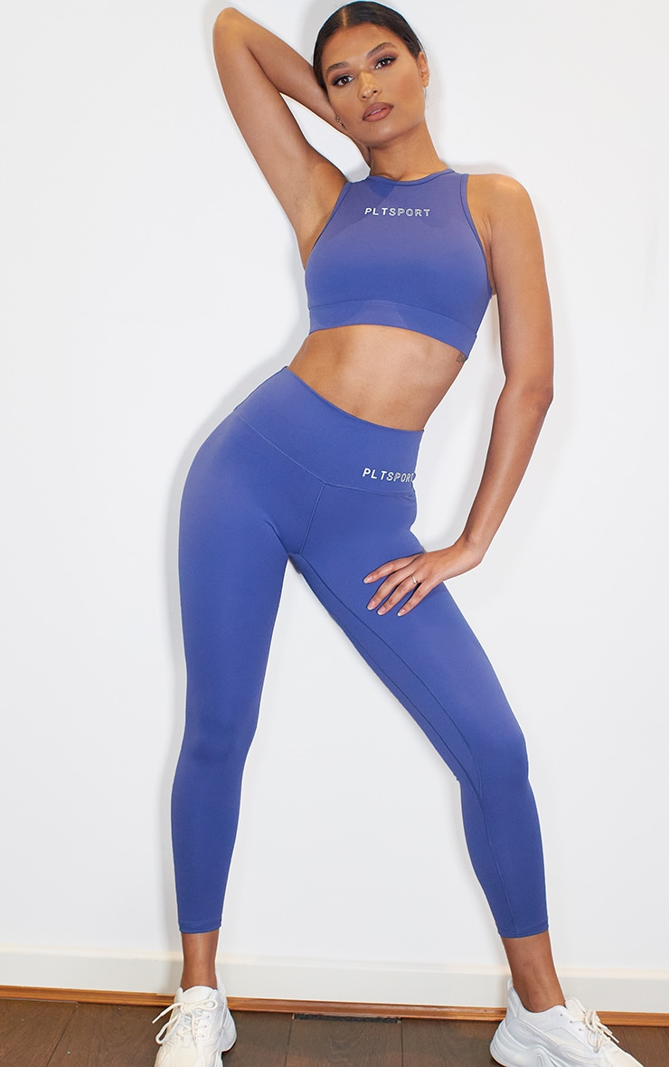 PRETTYLITTLETHING Blue Sculpt Luxe High Waist Gym Legging 2