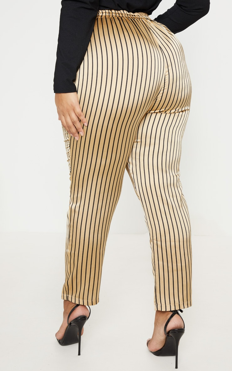 Plus Stone Stripe Casual Trousers 4