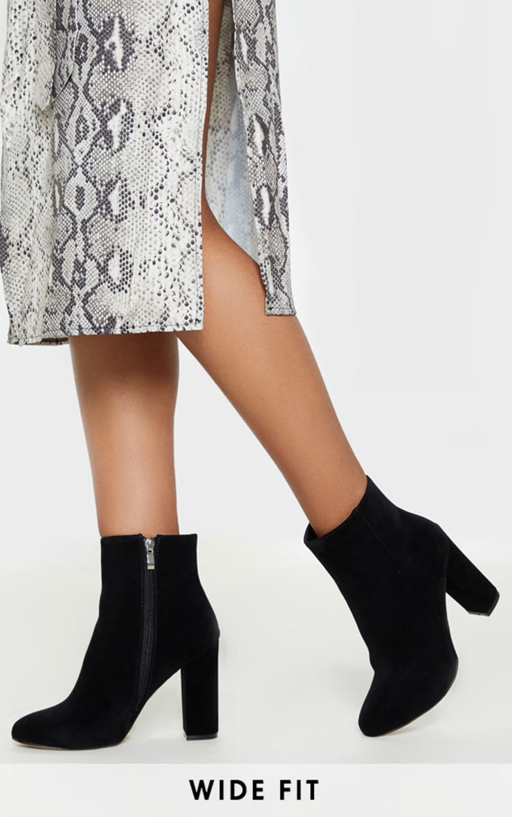 Black Wide Fit Behati Block Heeled Ankle Boot 1