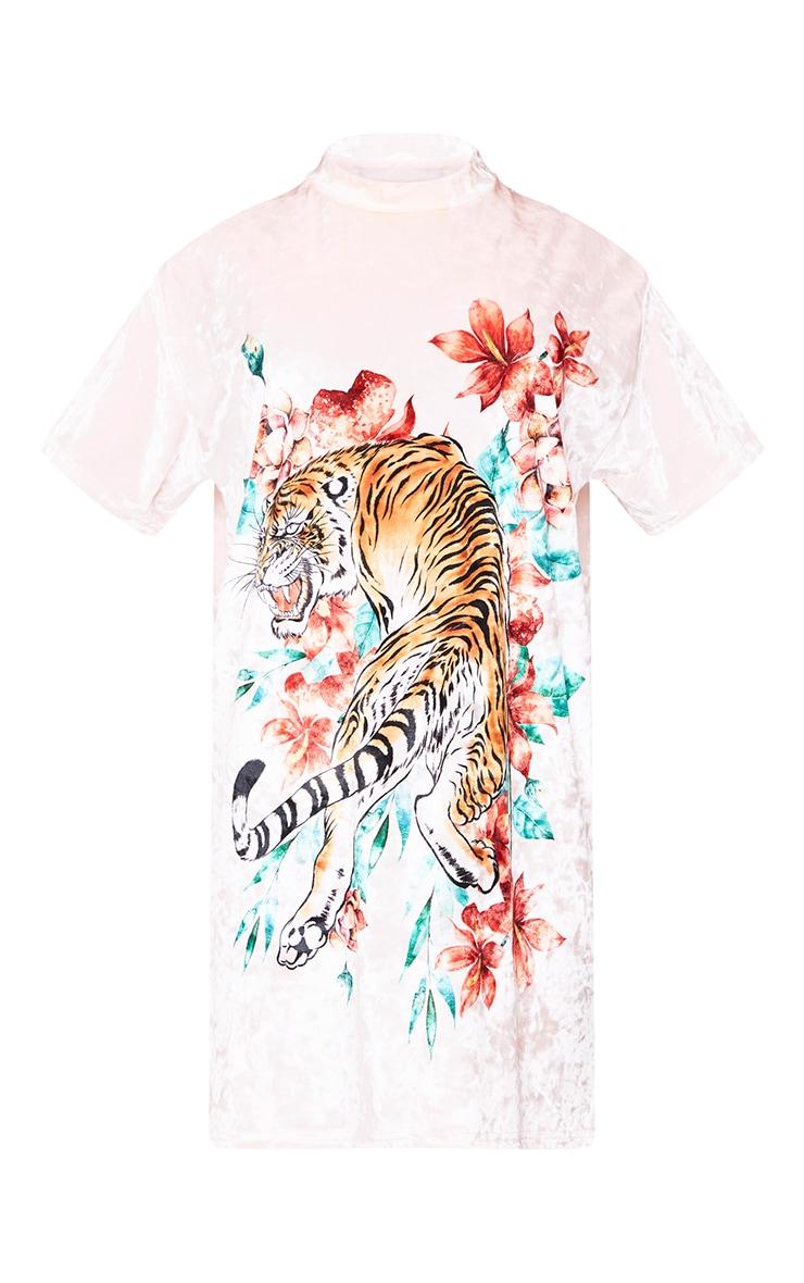 Pink Velour Tiger Print Dress 3
