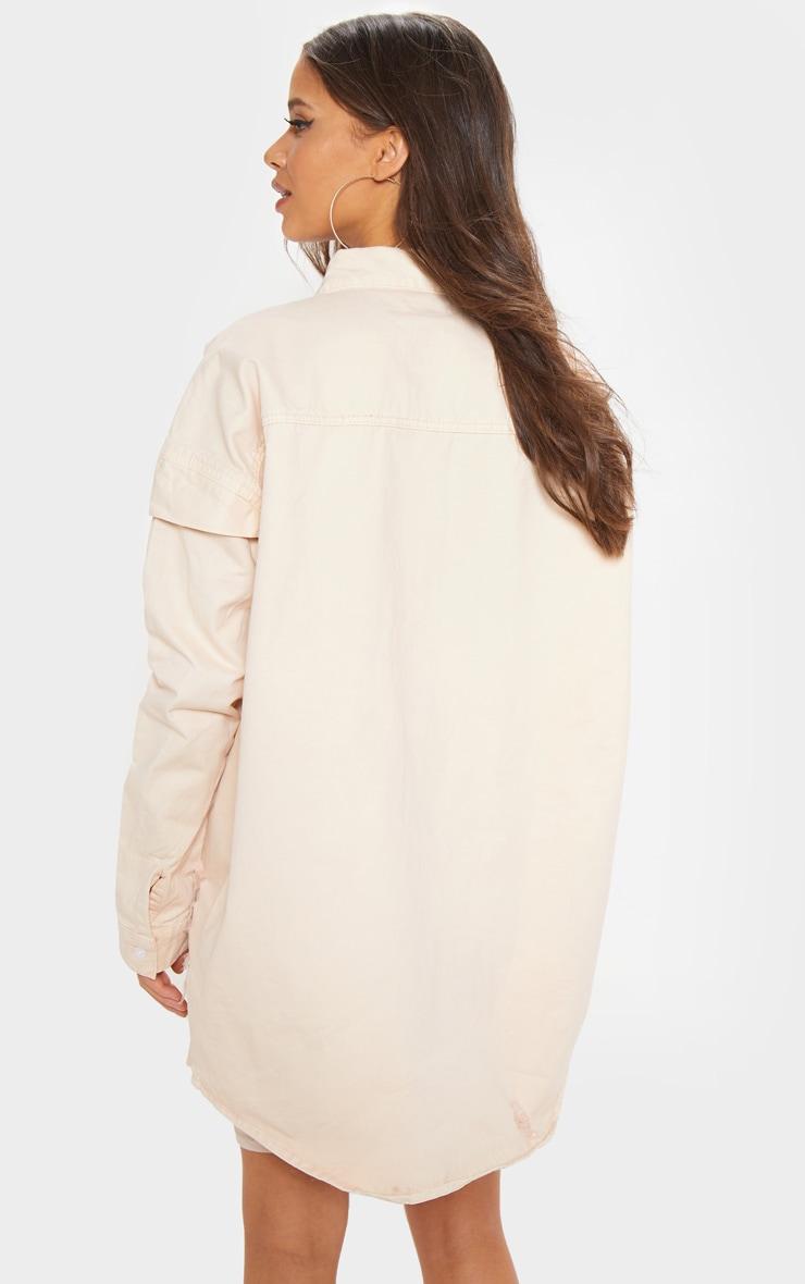 Peach Oversized Distressed Denim Shirt  2