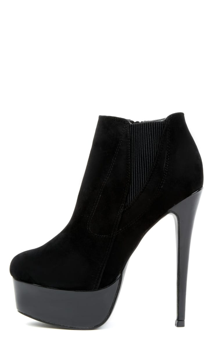 Juno Black High Heels With Metallic Platform  1