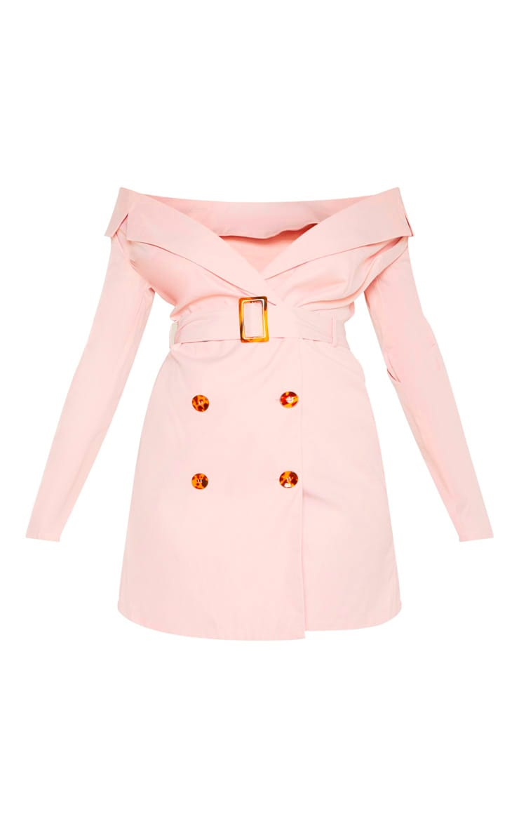 Dusty Pink Bardot Tortoise Button Belted Blazer Dress 3