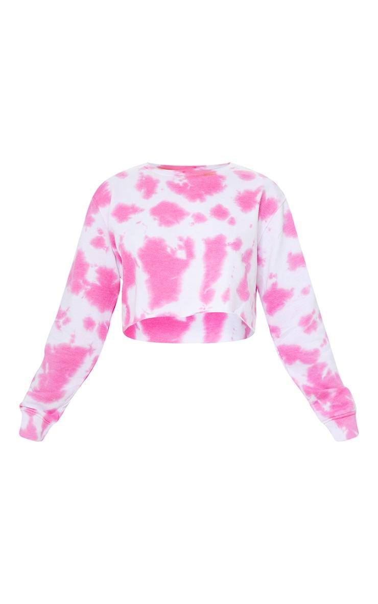 Petite Hot Pink Acid Wash Cropped Sweatshirt 5