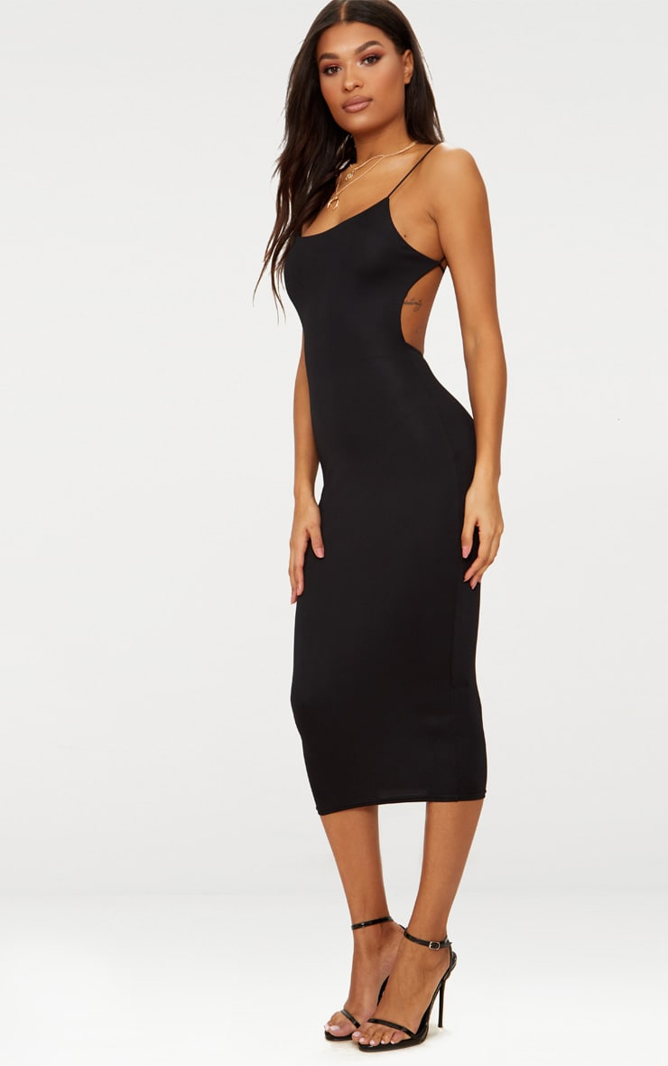 Black Straight Neck Strappy Back Midaxi Dress 4