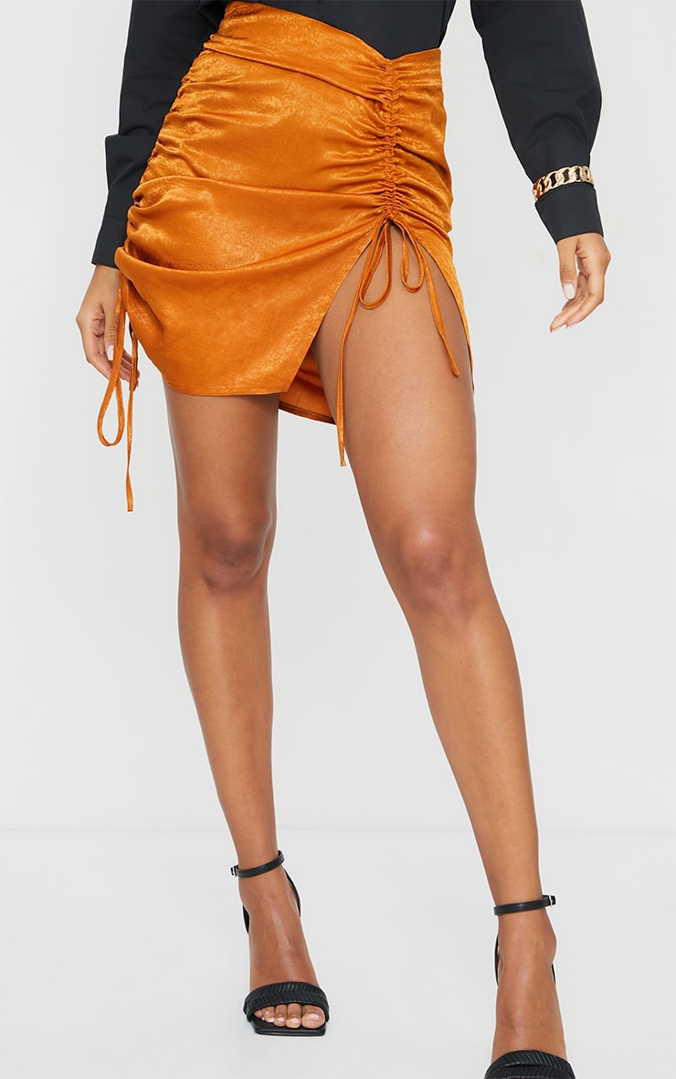 Rust Hammered Satin Ruched Detail Mini Skirt 2