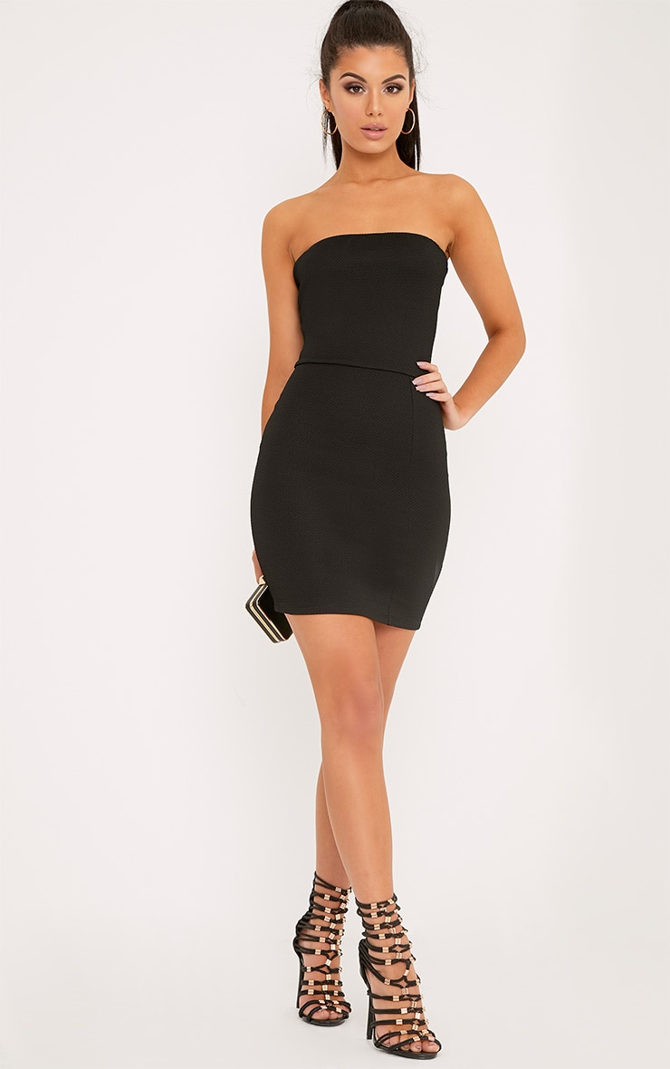 Loriella Black Textured Bandeau Bodycon Dress 2
