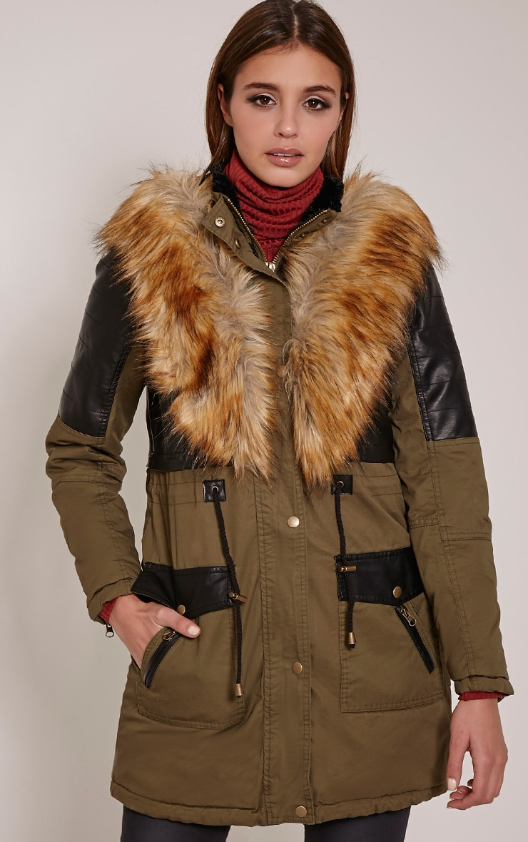 Elanor Khaki PU Panel Fur Collar Parka Jacket 3