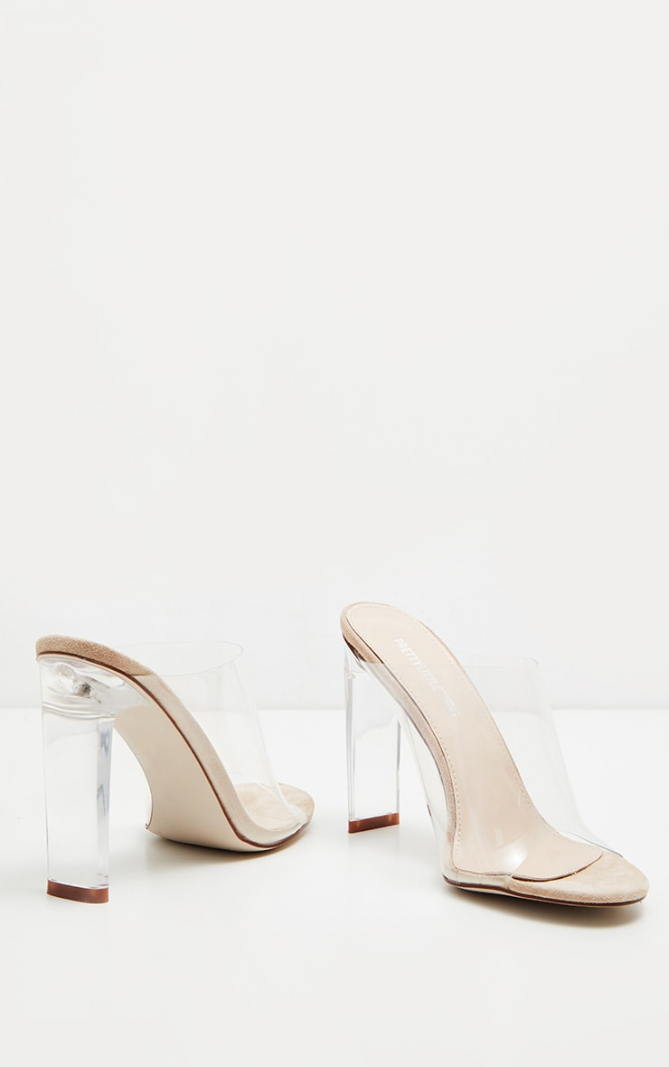 Nude Clear High Flat Heel Mule 3