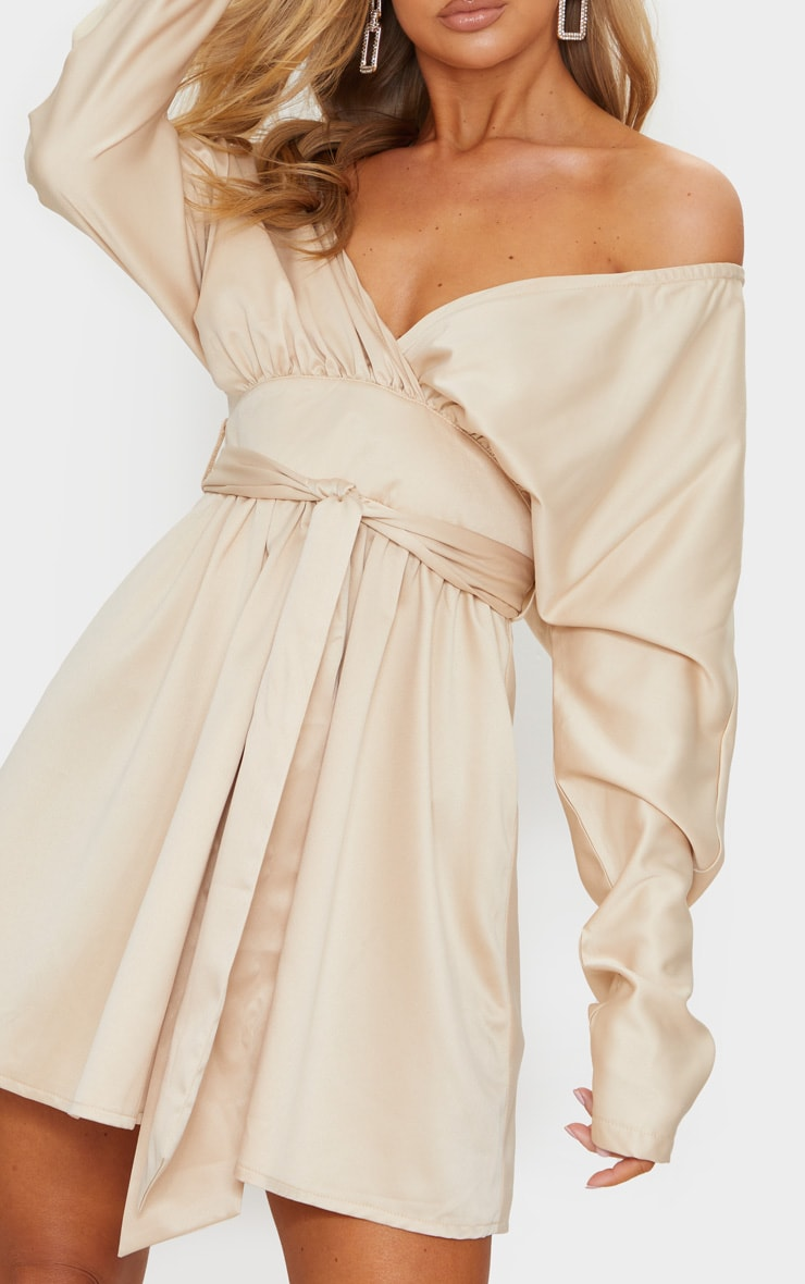 Champagne Satin Off Shoulder Tie Waist Skater Dress 4