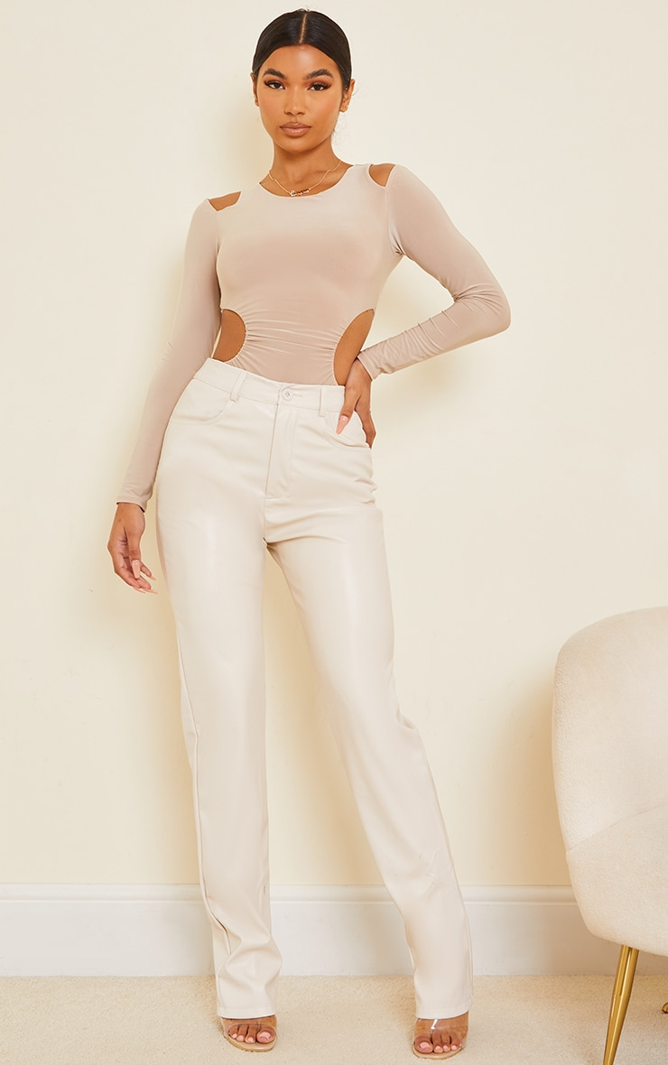 Stone Slinky Ruched Side Cold Shoulder Long Sleeve Bodysuit 3