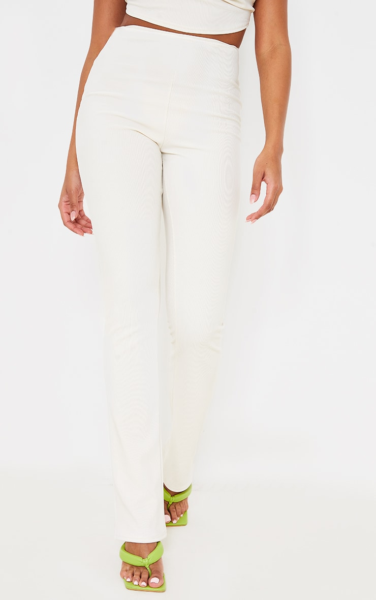 Cream Textured Rib Cut Out Bum Detail Skinny Flares 2